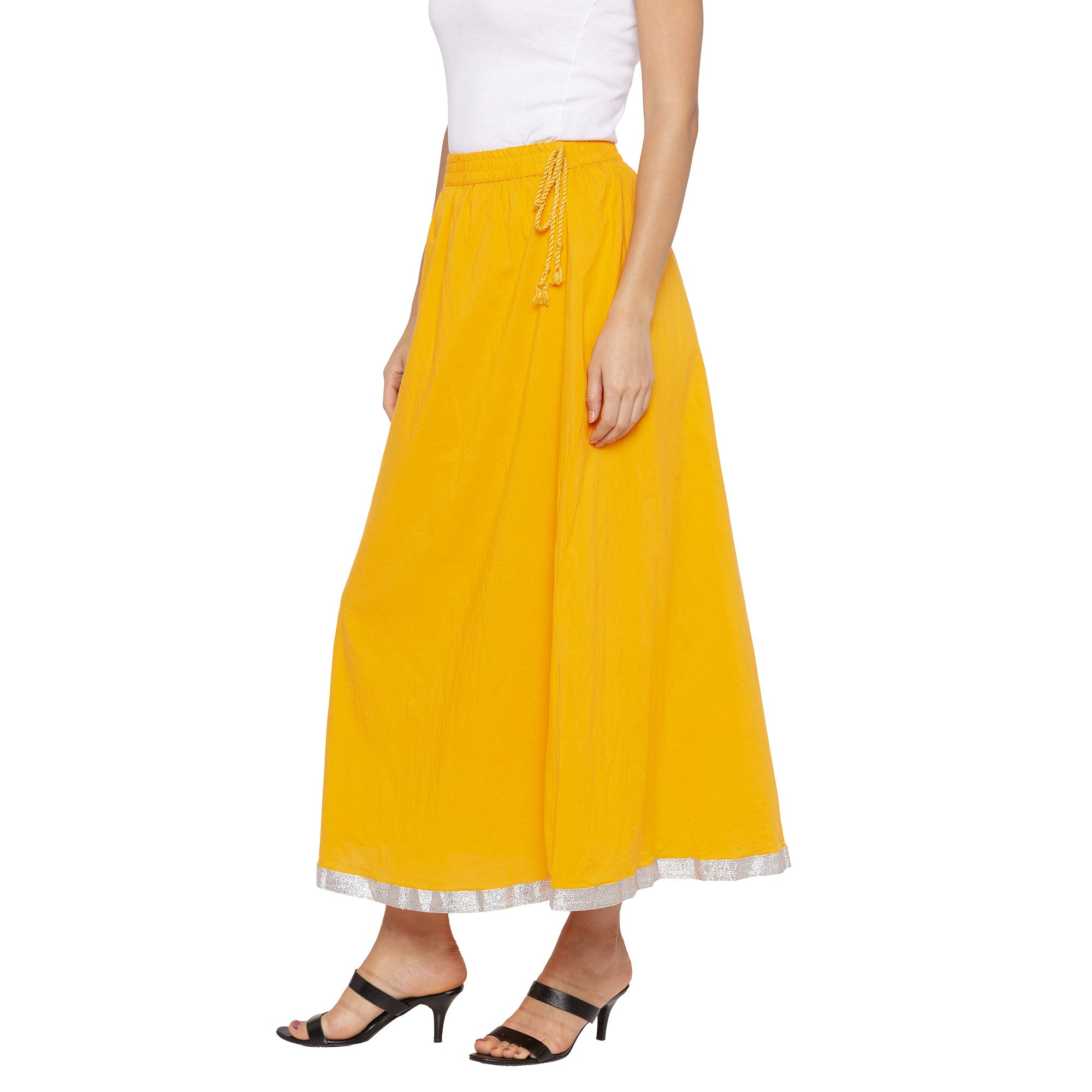 Yellow Solid Skirts-2