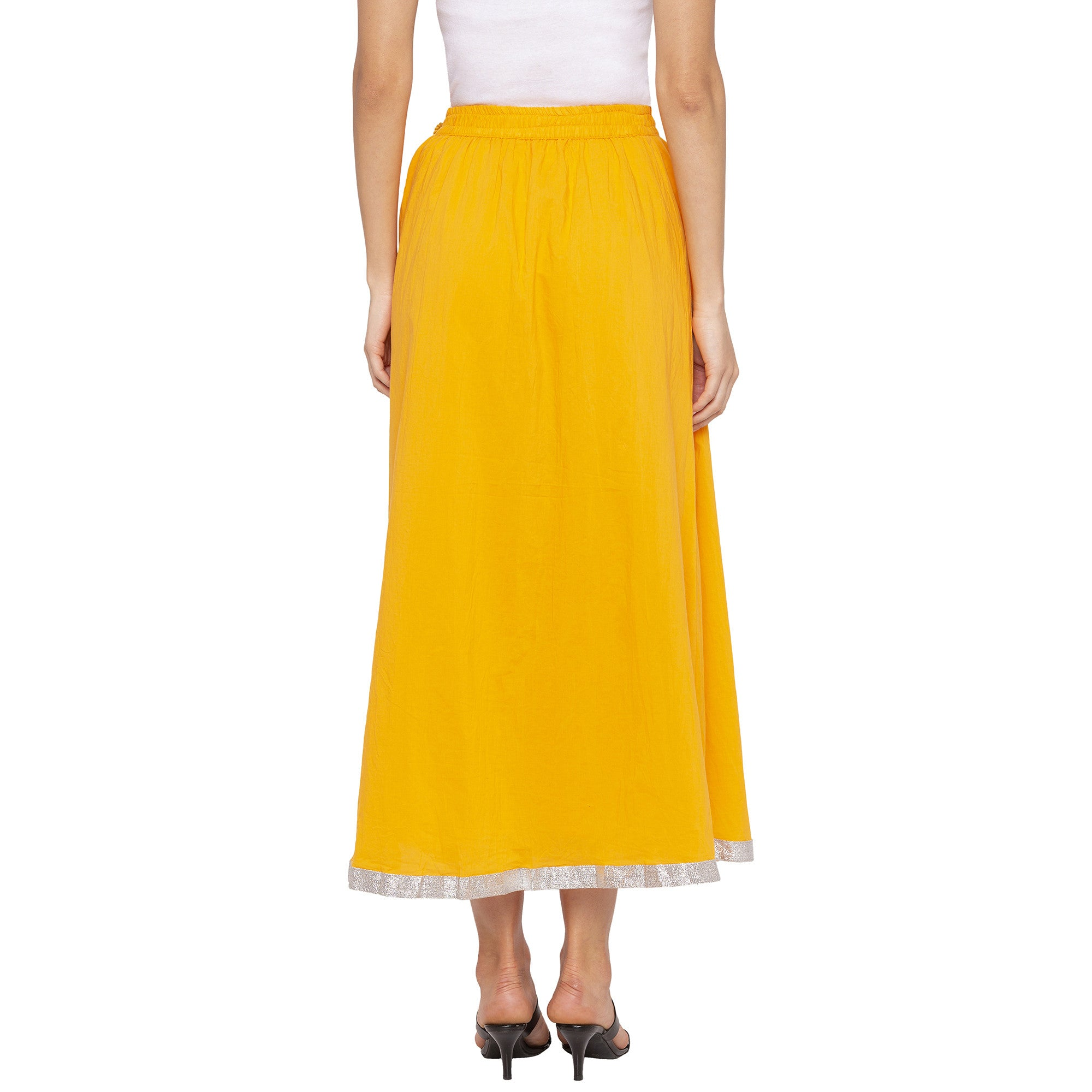 Yellow Solid Skirts-3