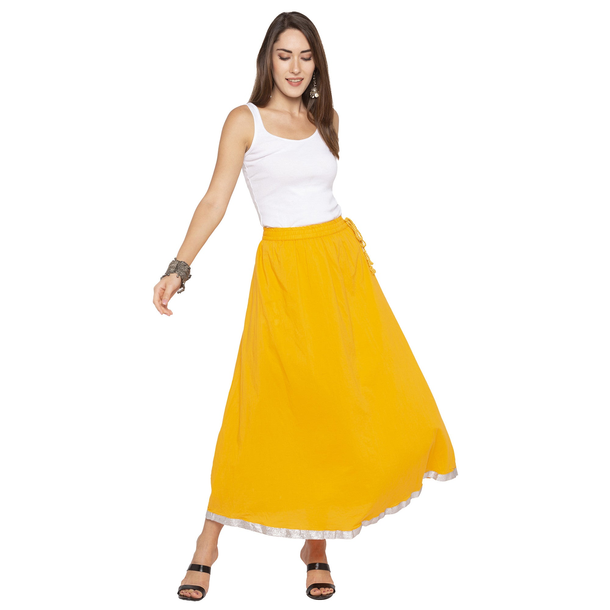Yellow Solid Skirts-4