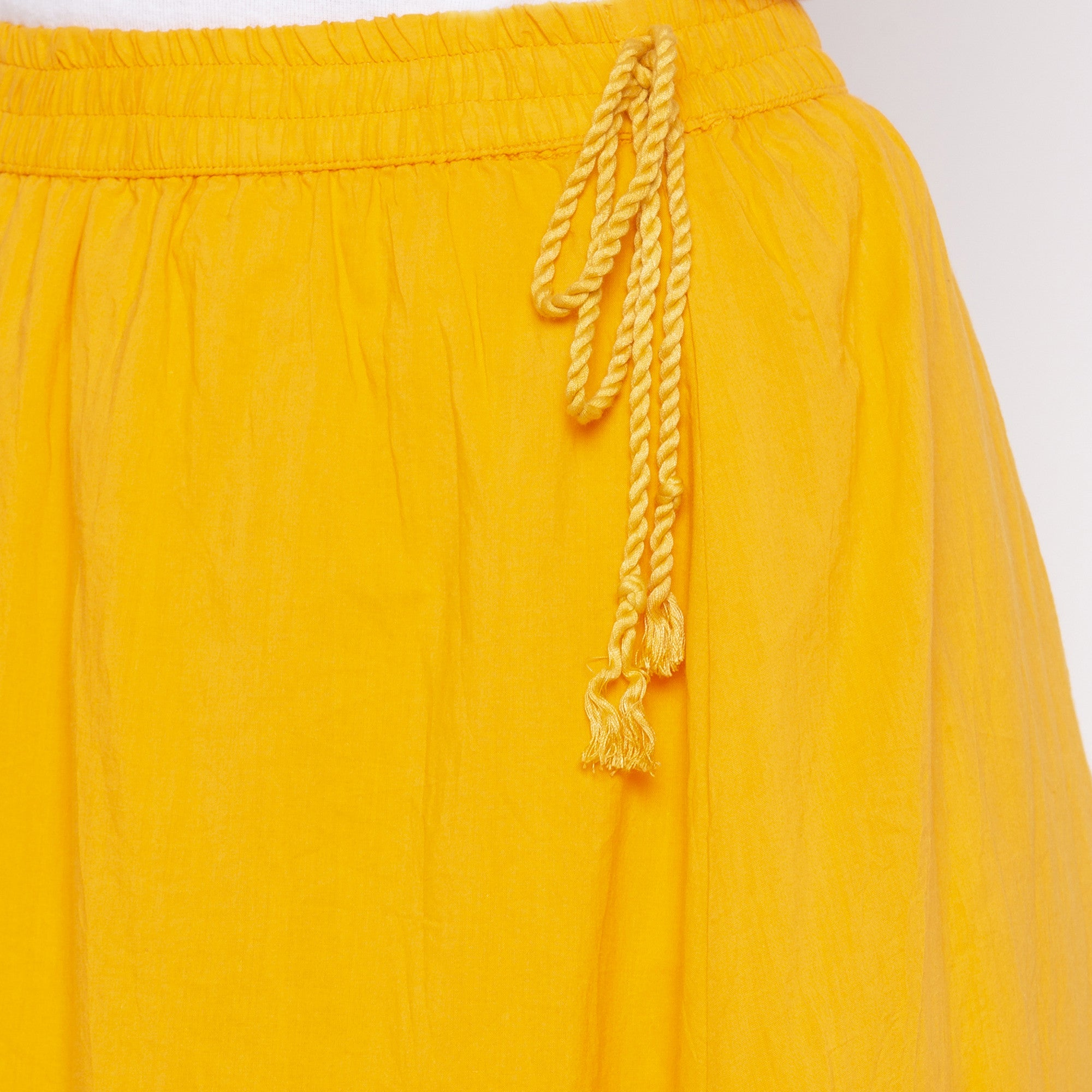 Yellow Solid Skirts-5