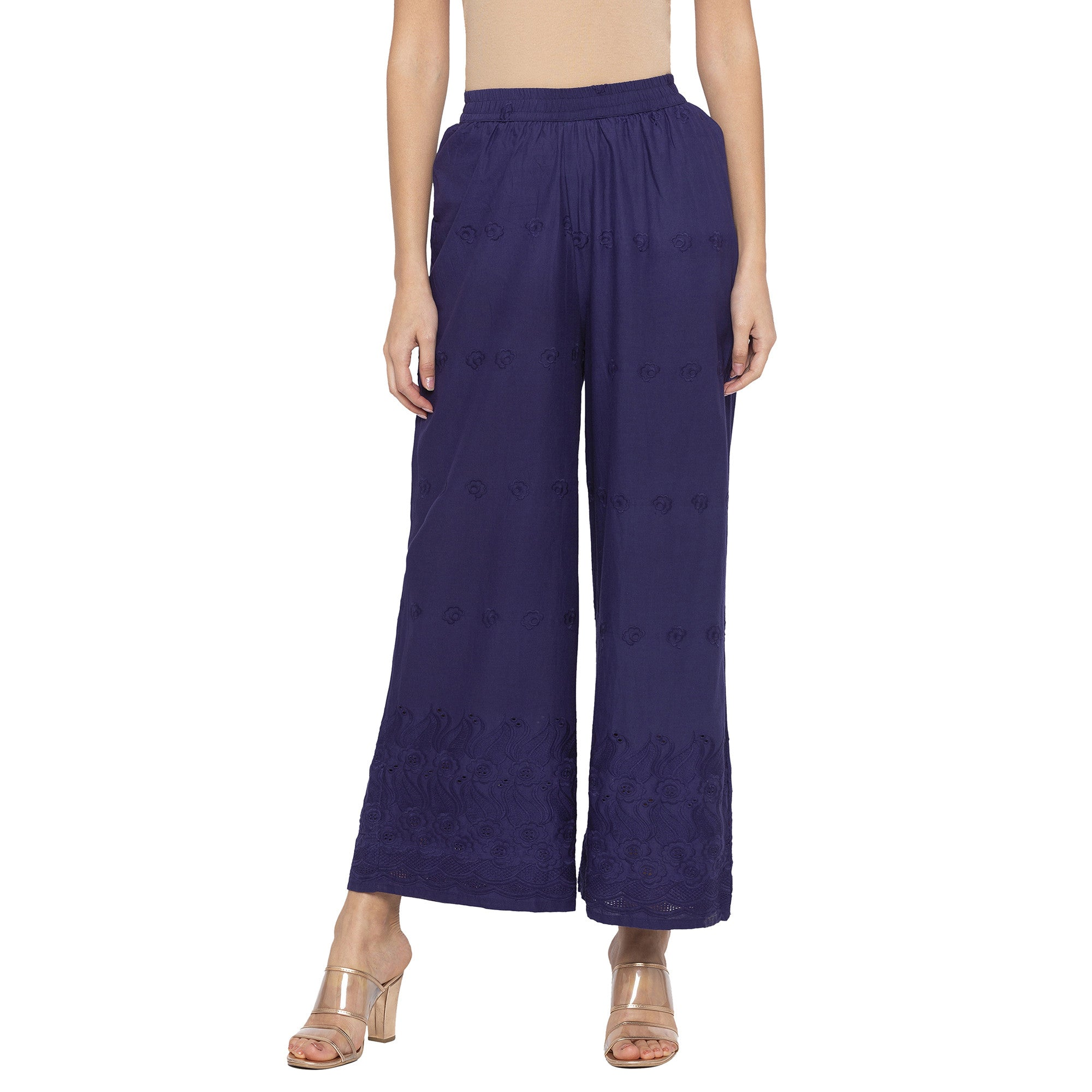 Casual Navy Blue Color Loose Fit Regular Parallel Trousers-1