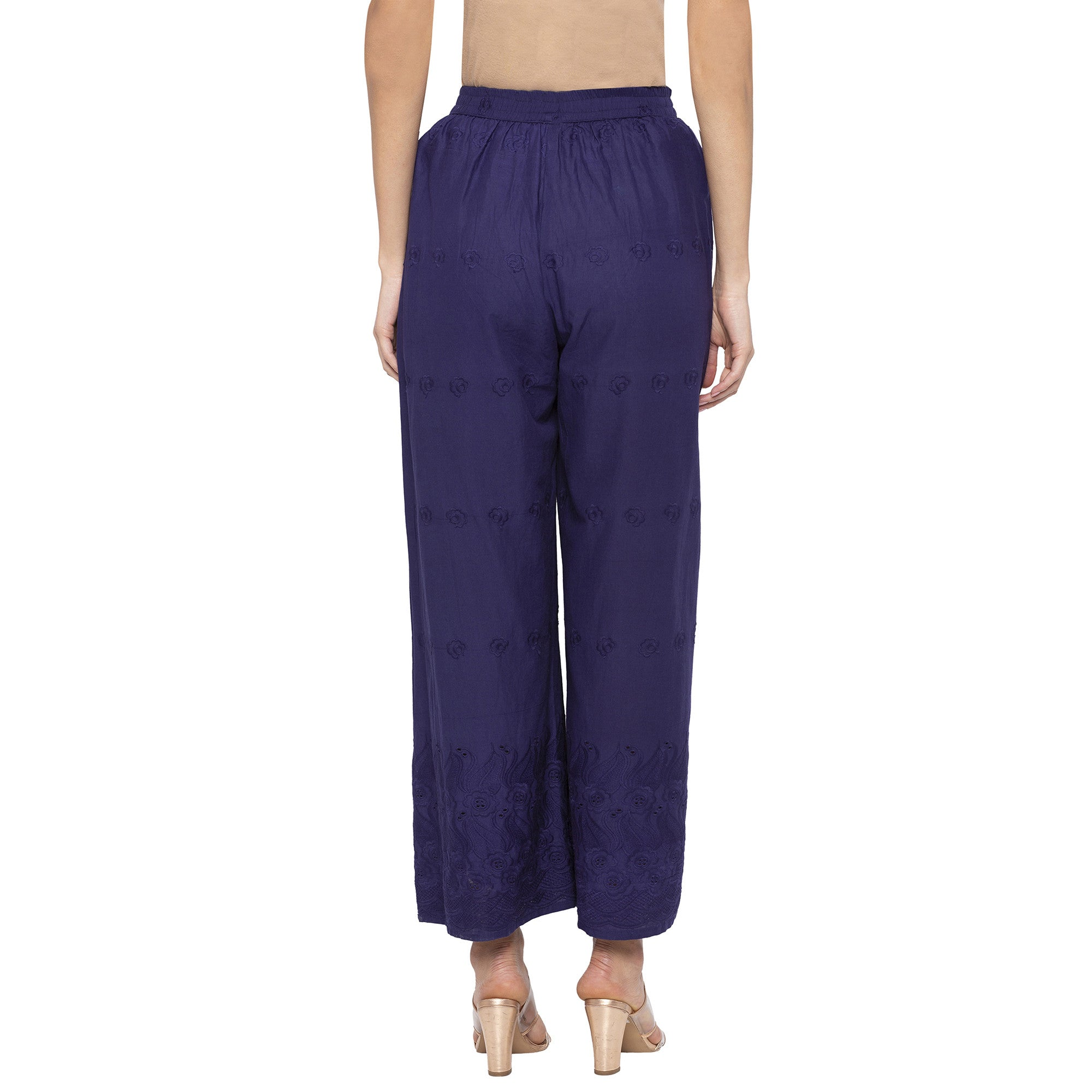 Casual Navy Blue Color Loose Fit Regular Parallel Trousers-3