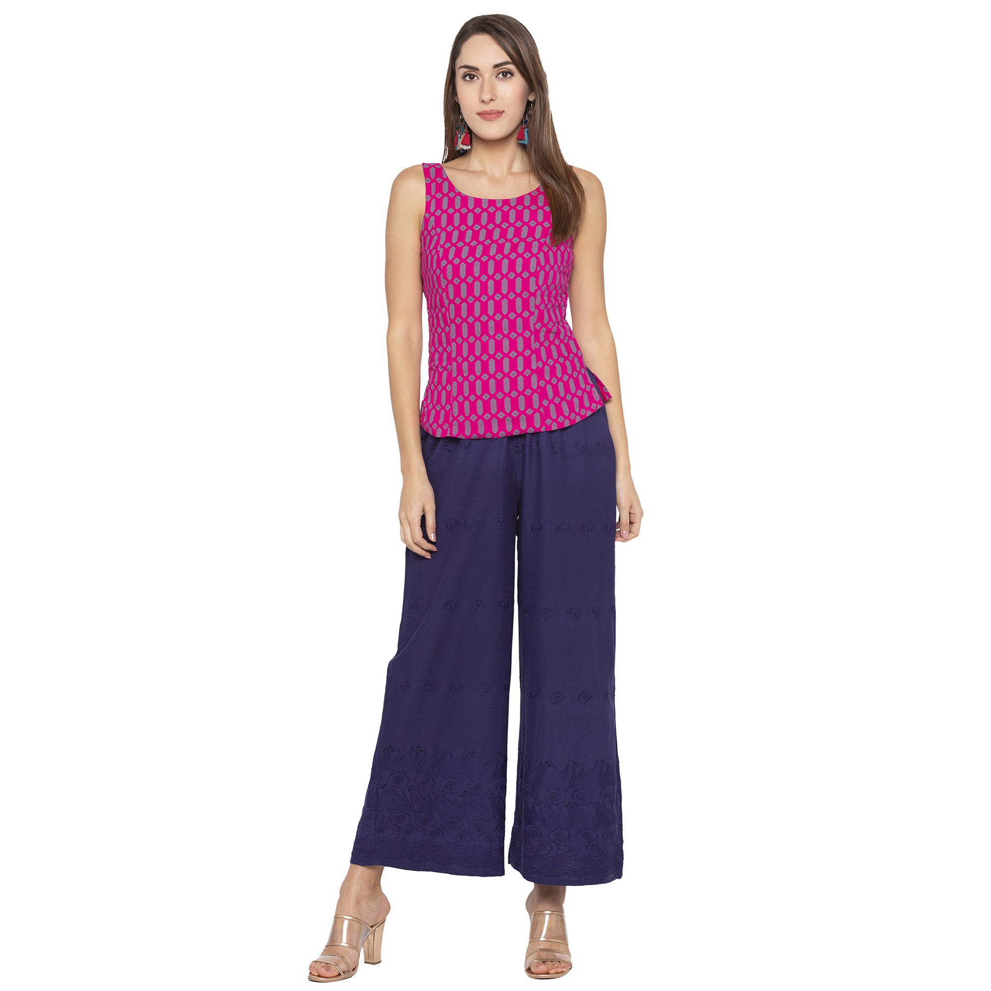 Casual Navy Blue Color Loose Fit Regular Parallel Trousers-4