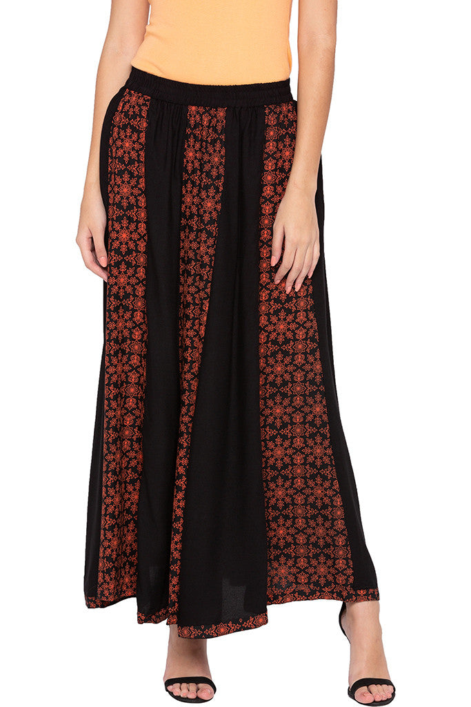 Printed Panelled Black Ethnic Skirt-1