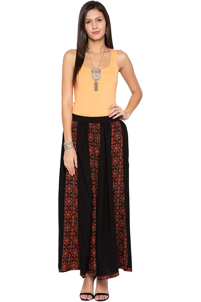Printed Panelled Black Ethnic Skirt-2