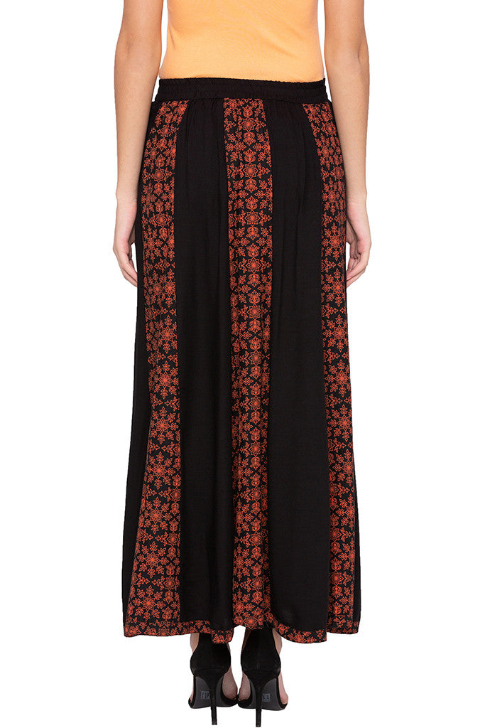 Printed Panelled Black Ethnic Skirt-3