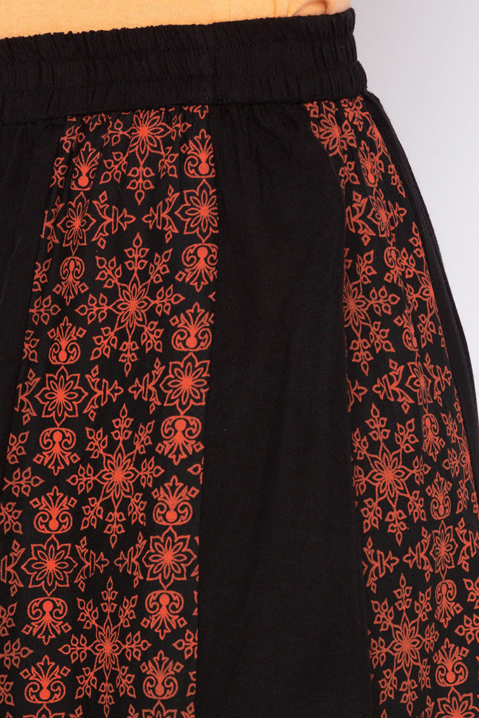 Printed Panelled Black Ethnic Skirt-5