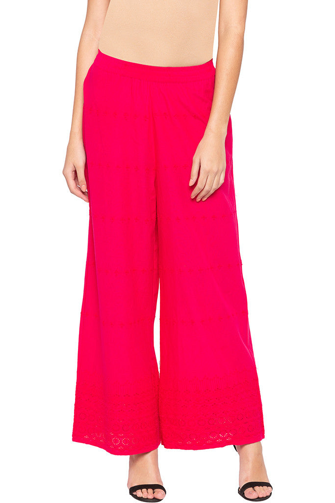 Cut-work Embroidery Palazzo Pants-1