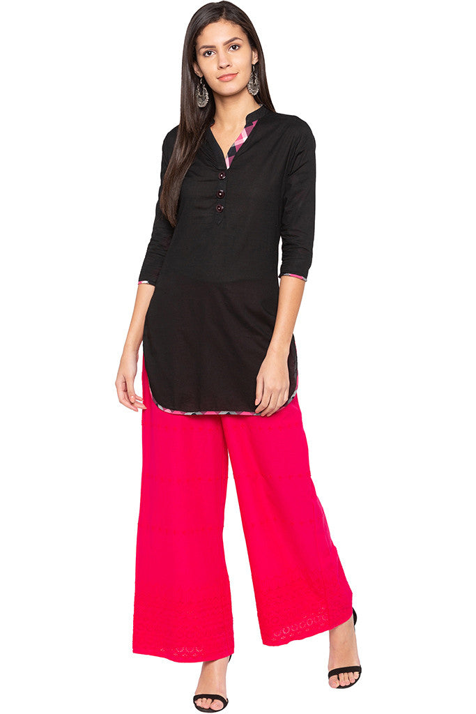 Cut-work Embroidery Palazzo Pants-2