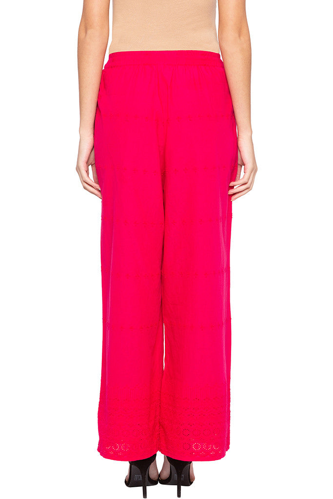 Cut-work Embroidery Palazzo Pants-3