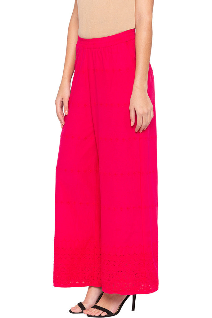 Cut-work Embroidery Palazzo Pants-4
