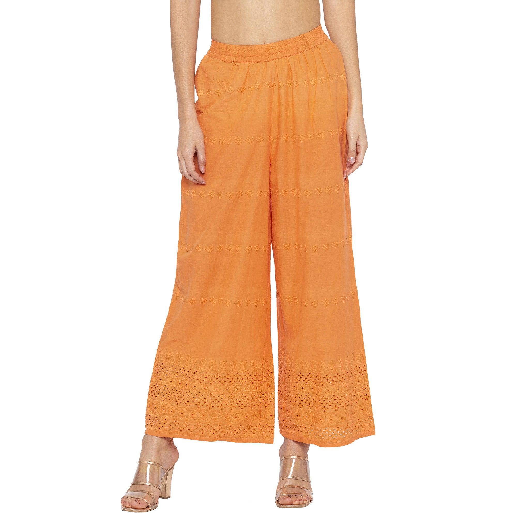 Casual Orange Color Loose Fit Regular Parallel Trousers-1