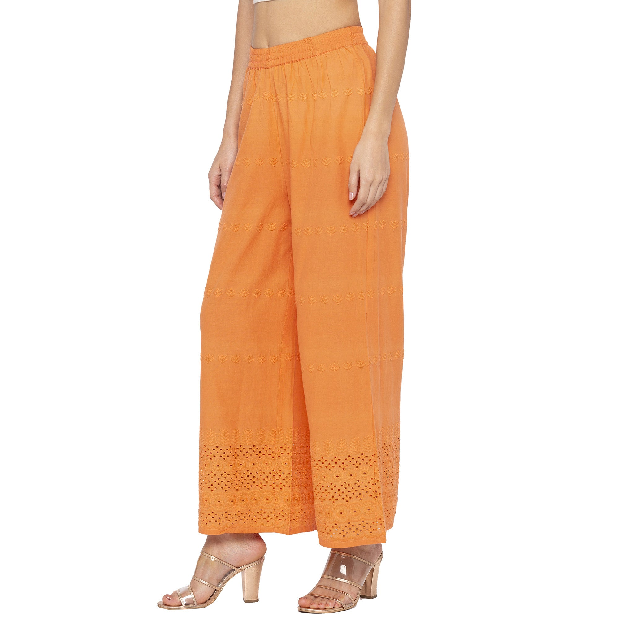 Casual Orange Color Loose Fit Regular Parallel Trousers-2