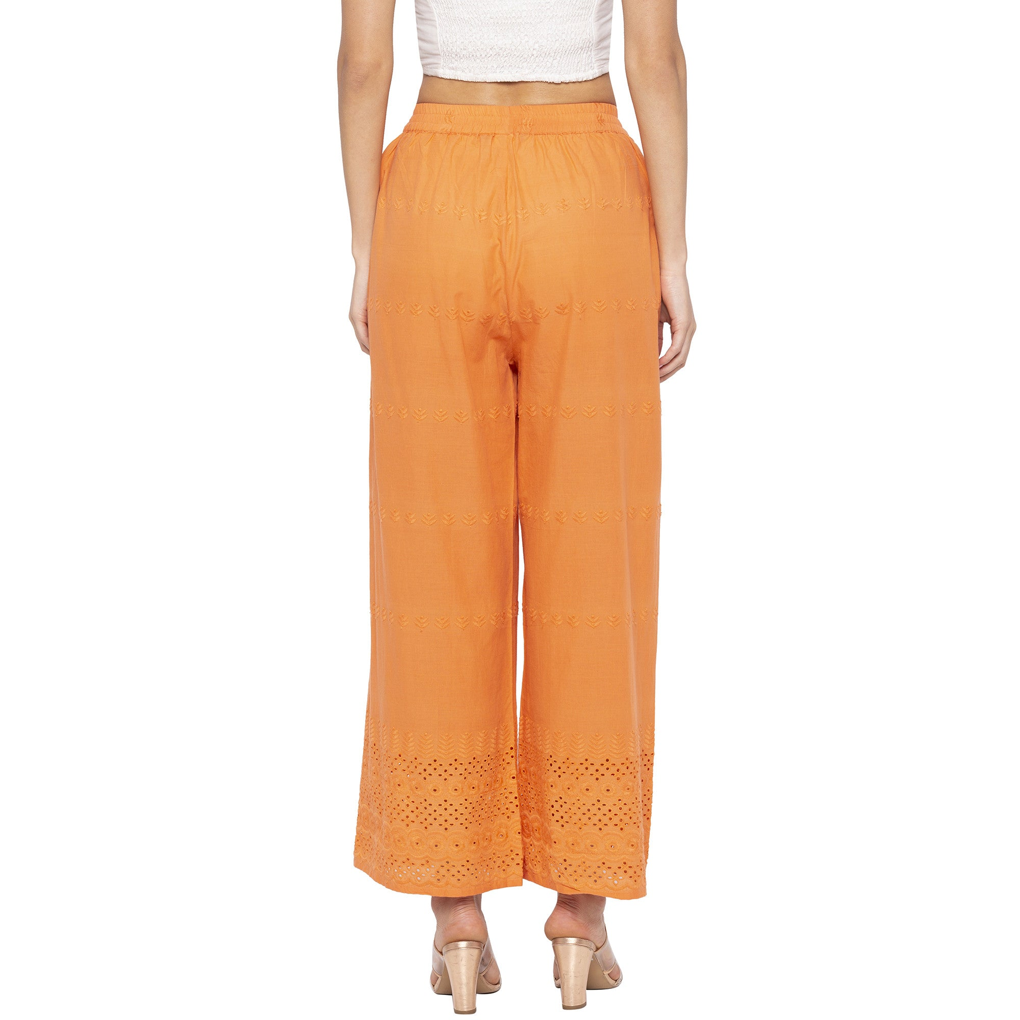 Casual Orange Color Loose Fit Regular Parallel Trousers-3