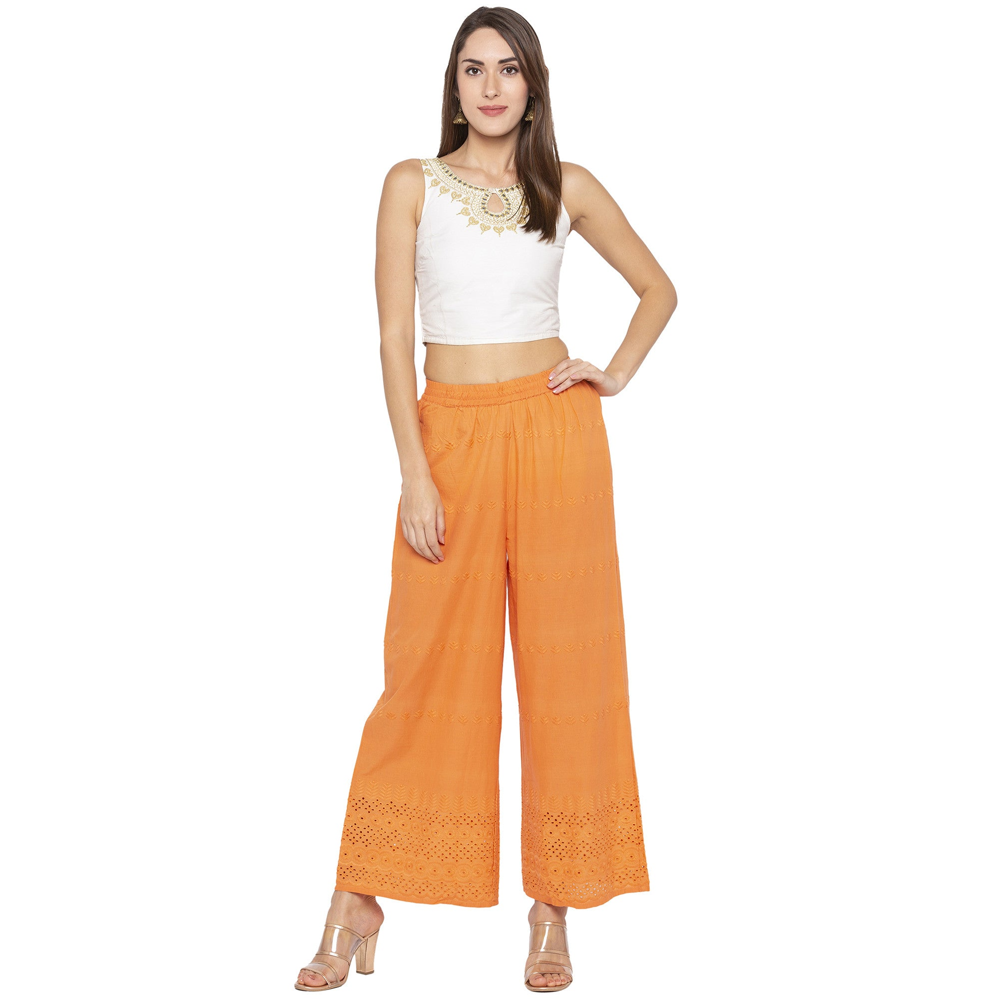 Casual Orange Color Loose Fit Regular Parallel Trousers-4