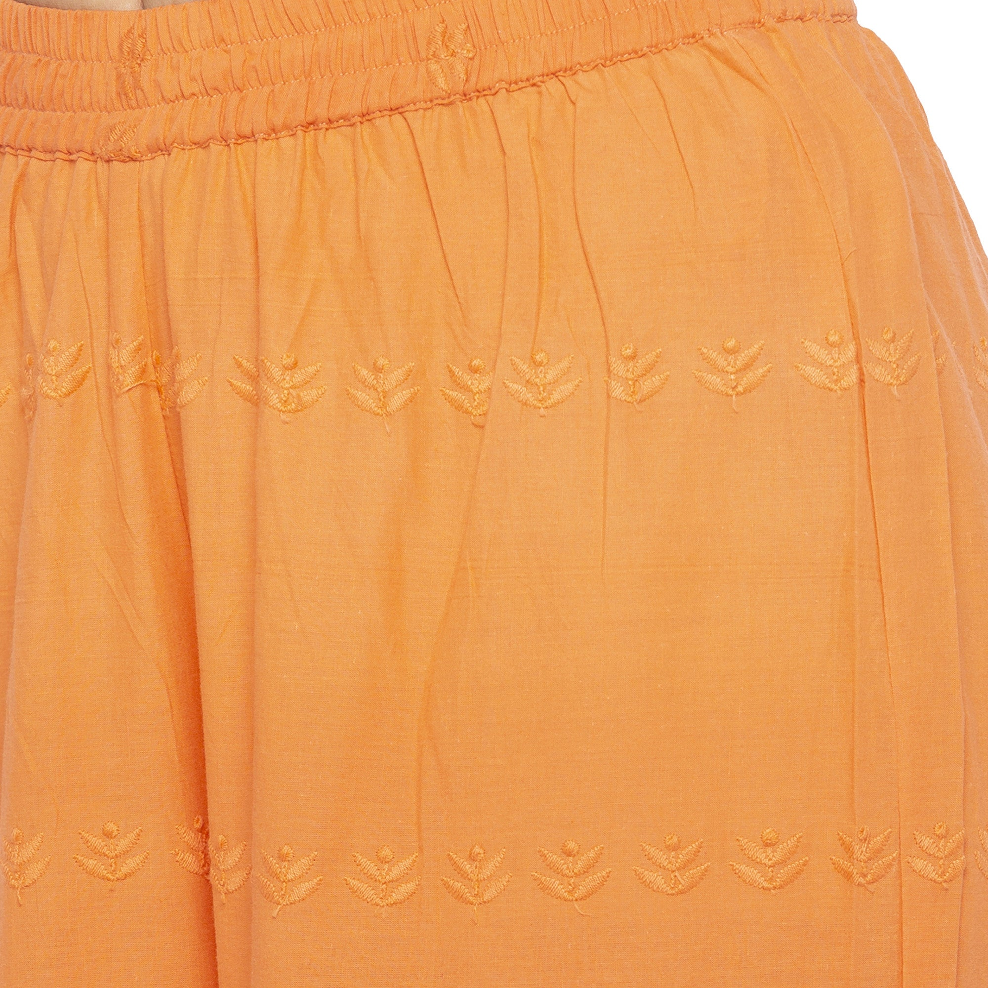 Casual Orange Color Loose Fit Regular Parallel Trousers-5
