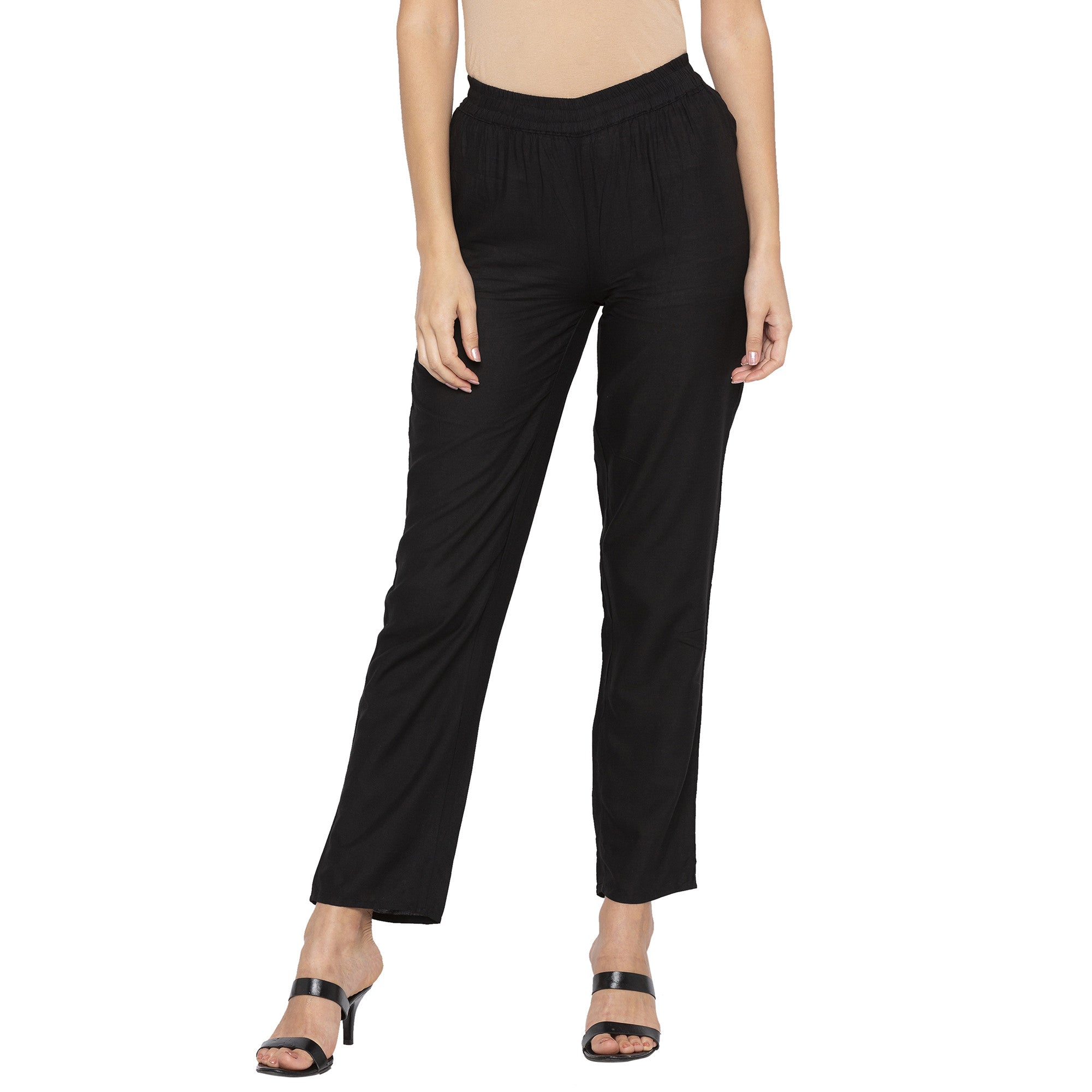 Casual Black Color Regular Fit Cropped Regular Trousers-1