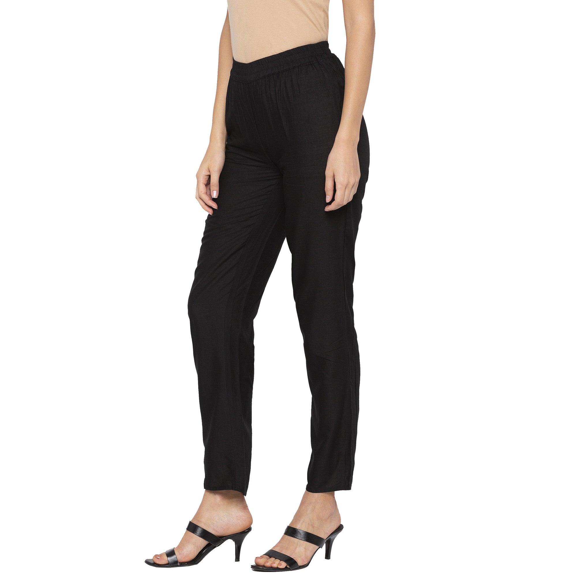 Casual Black Color Regular Fit Cropped Regular Trousers-2