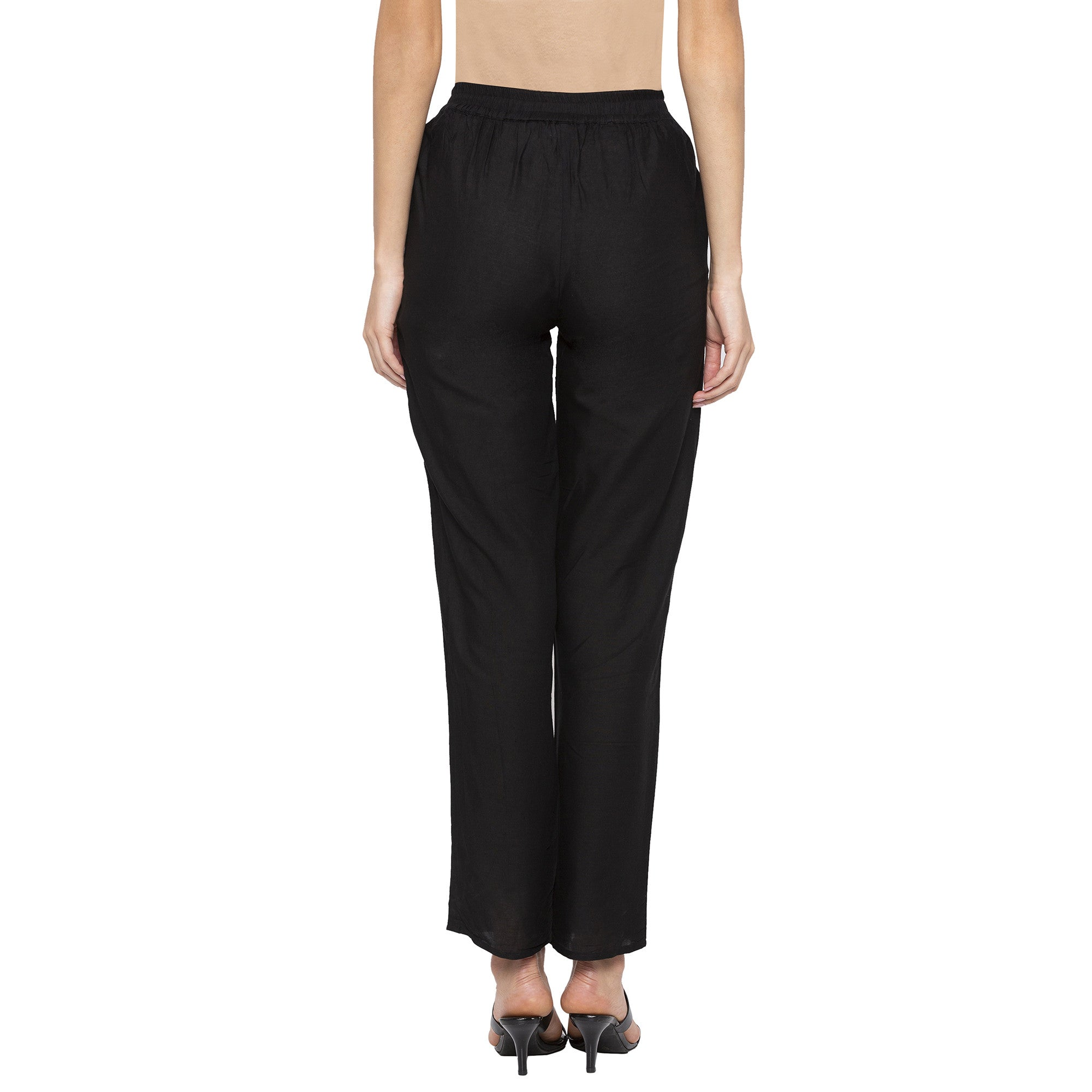 Casual Black Color Regular Fit Cropped Regular Trousers-3