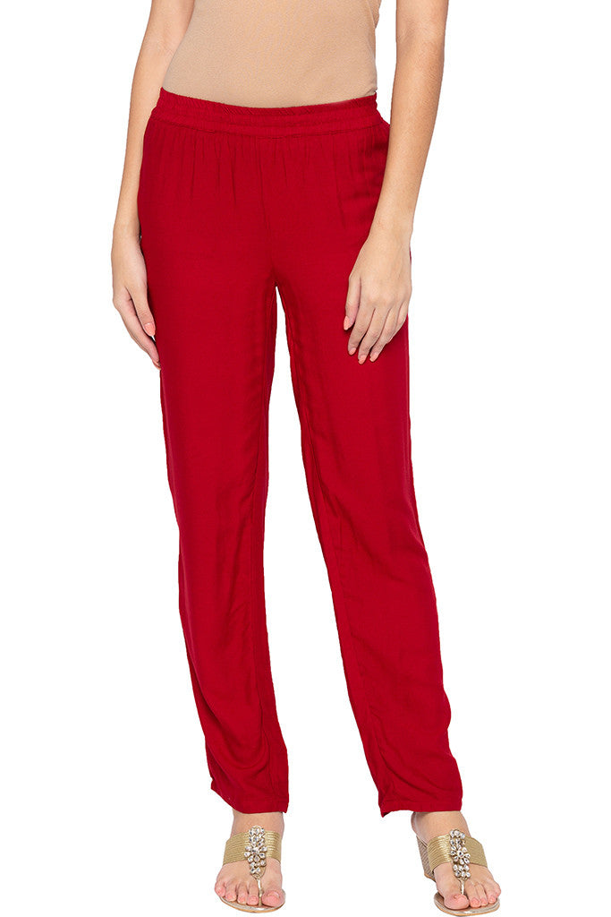 Solid Straight Fit Maroon Trousers-1