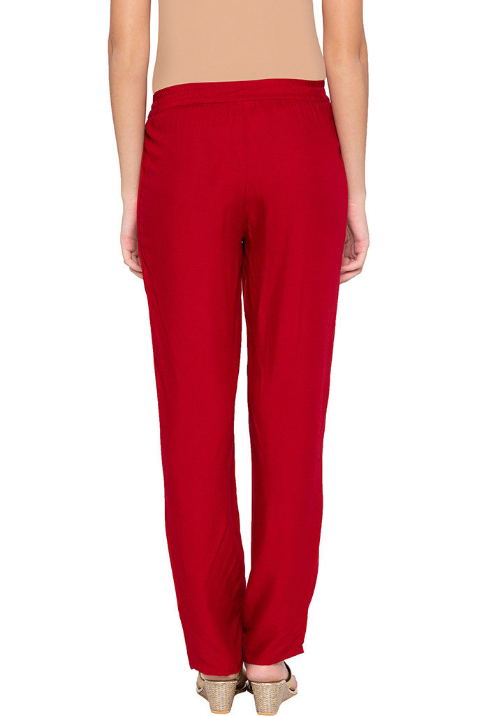 Solid Straight Fit Maroon Trousers-3