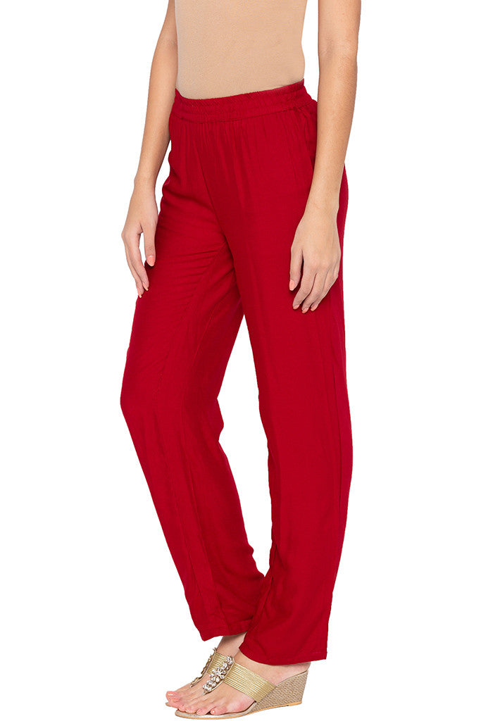 Solid Straight Fit Maroon Trousers-4