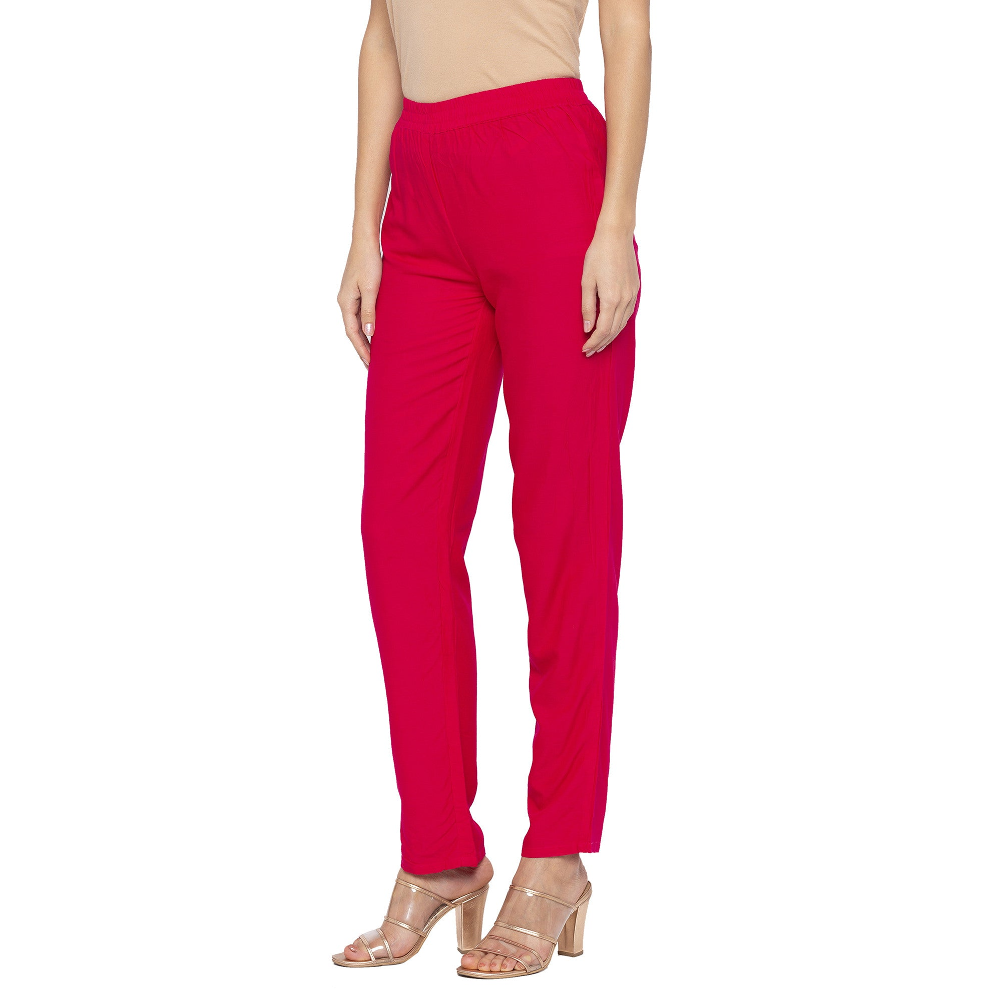 Casual Pink Color Regular Fit Regular Regular Trousers-2