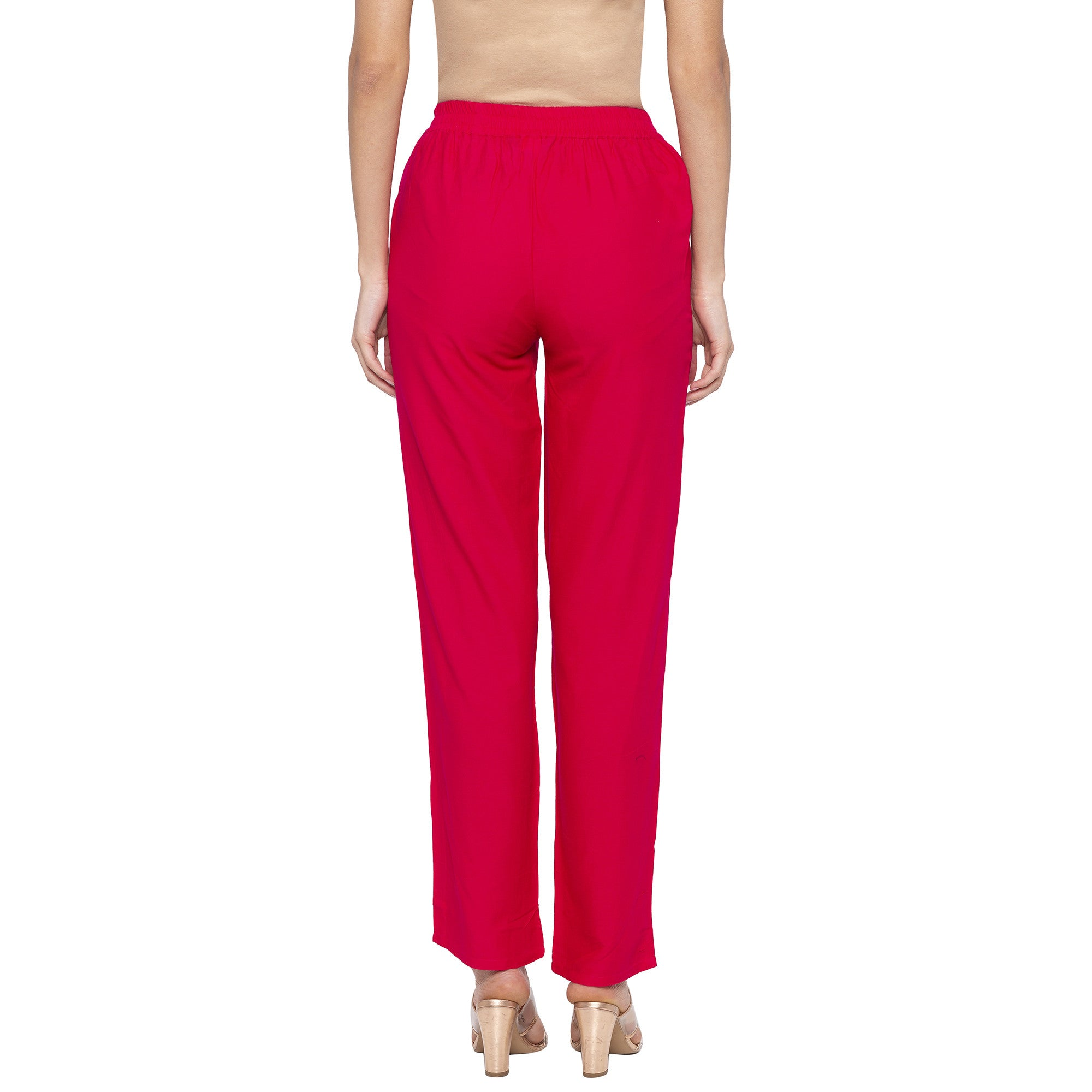 Casual Pink Color Regular Fit Regular Regular Trousers-3