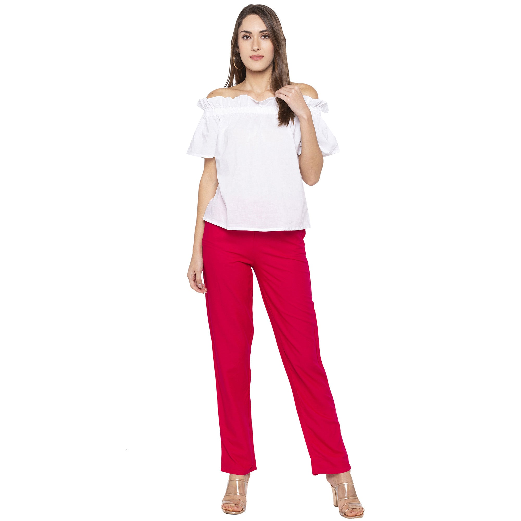 Casual Pink Color Regular Fit Regular Regular Trousers-4