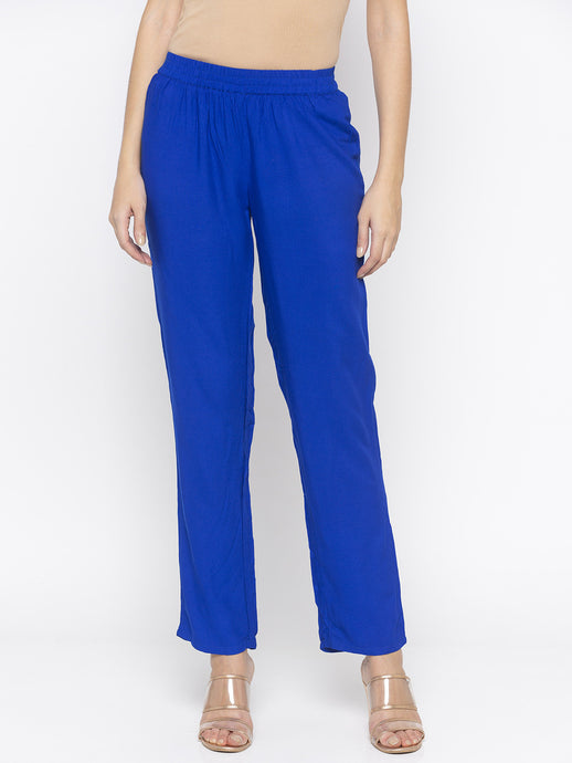 Solid Blue Trousers-1
