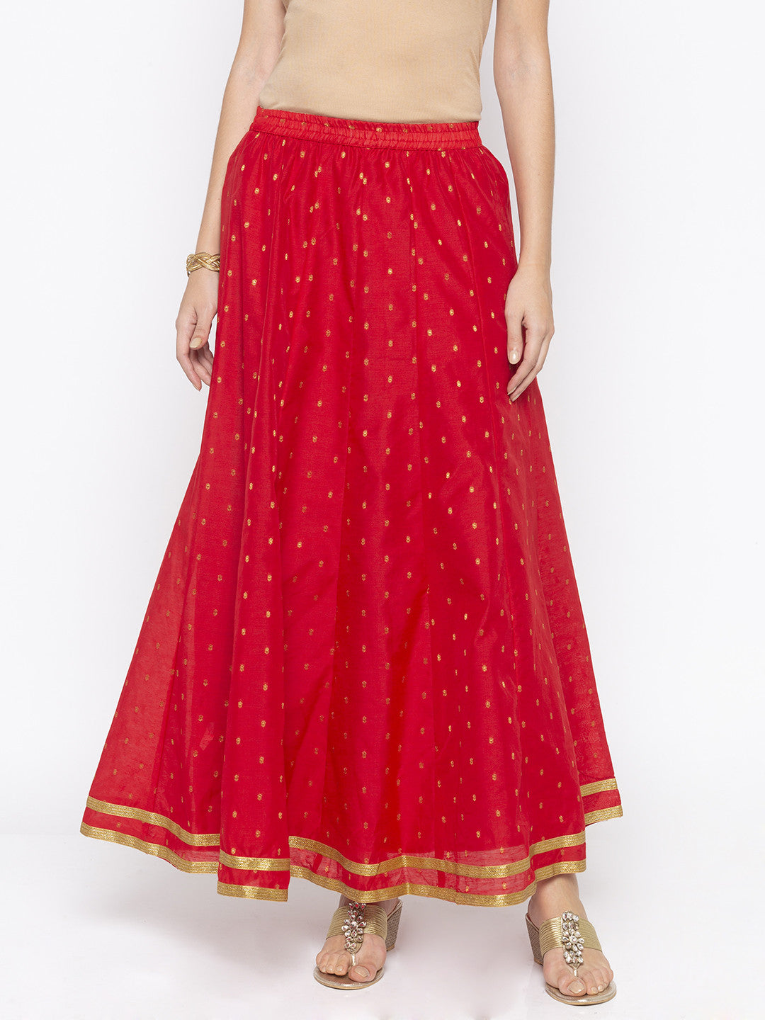 Red Printed Flared Maxi Skirts-1