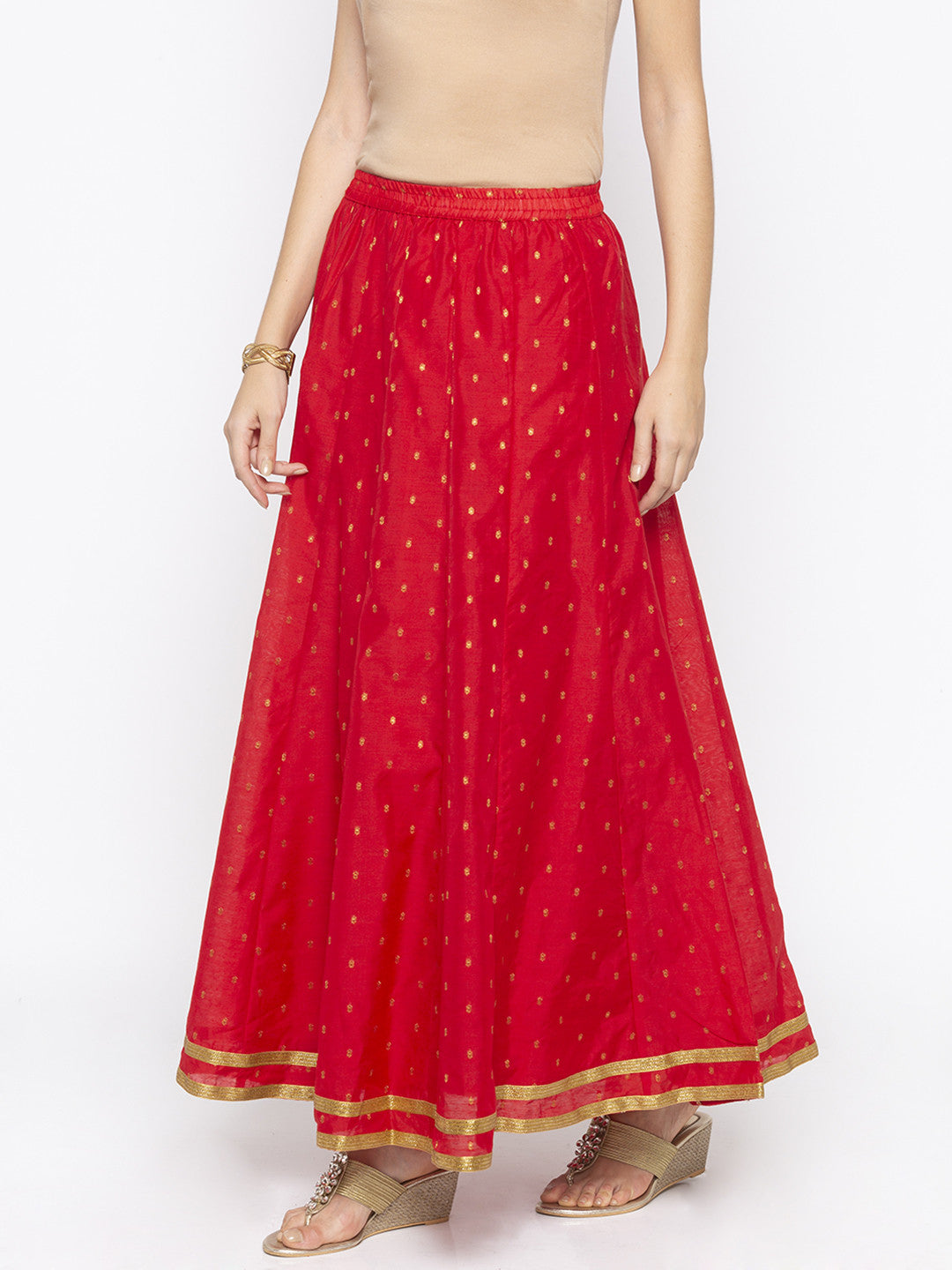 Red Printed Flared Maxi Skirts-2