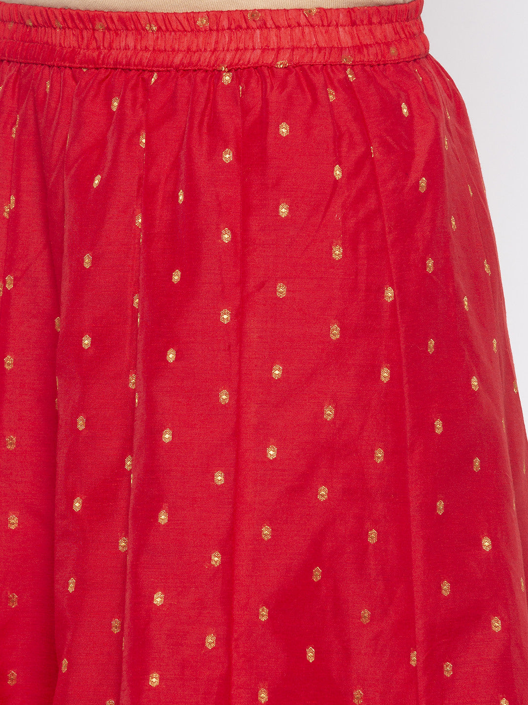 Red Printed Flared Maxi Skirts-5