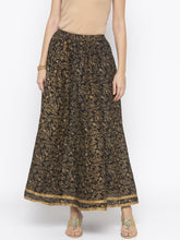 Load image into Gallery viewer, Black Printed Flared Maxi Skirts-1