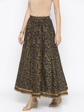 Load image into Gallery viewer, Black Printed Flared Maxi Skirts-2