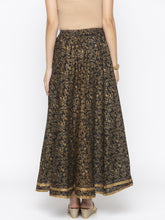 Load image into Gallery viewer, Black Printed Flared Maxi Skirts-3