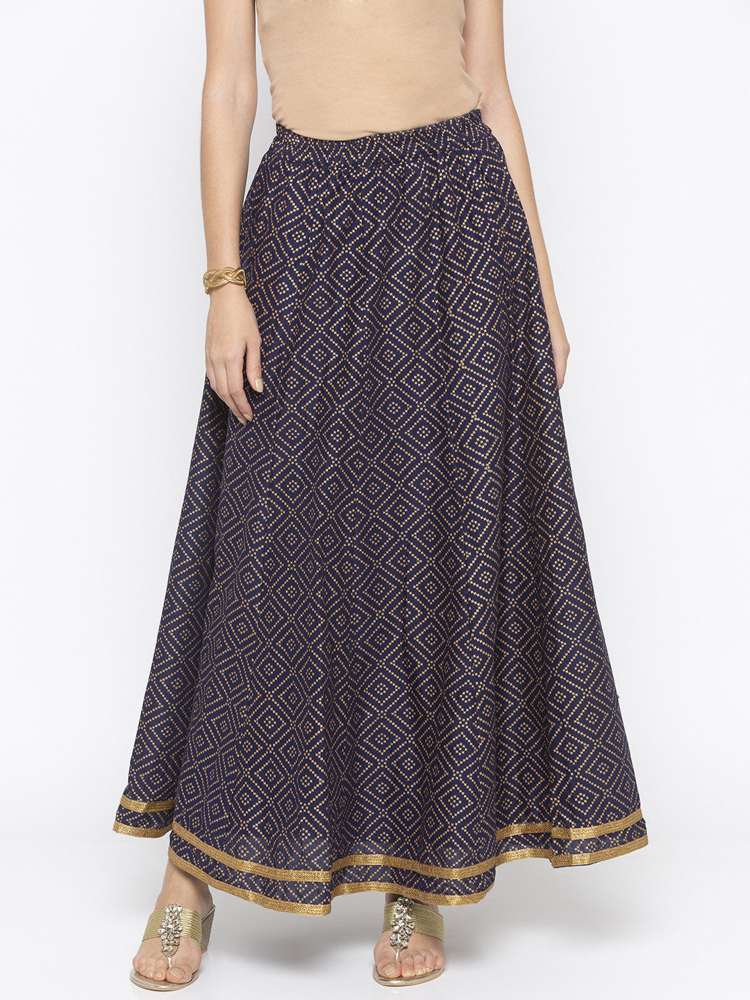 Navy Blue Printed Flared Maxi Skirts-1