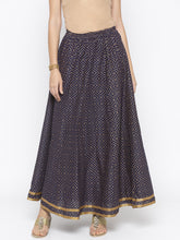 Load image into Gallery viewer, Navy Blue Printed Flared Maxi Skirts-1