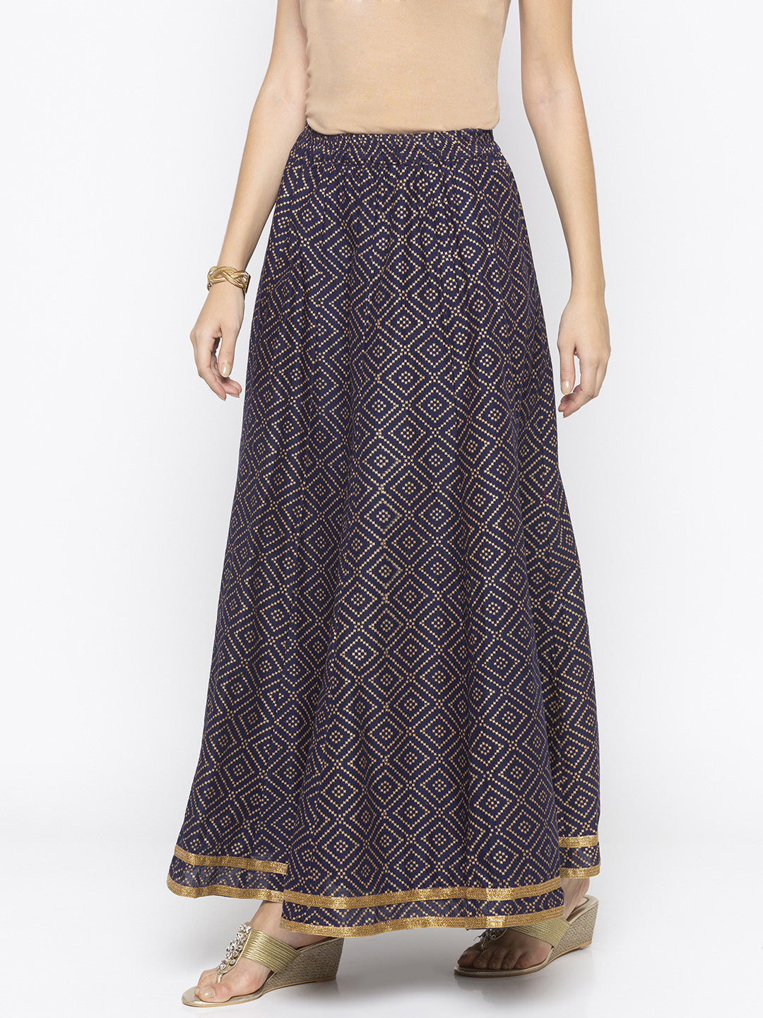 Navy Blue Printed Flared Maxi Skirts-2