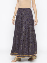 Load image into Gallery viewer, Navy Blue Printed Flared Maxi Skirts-2