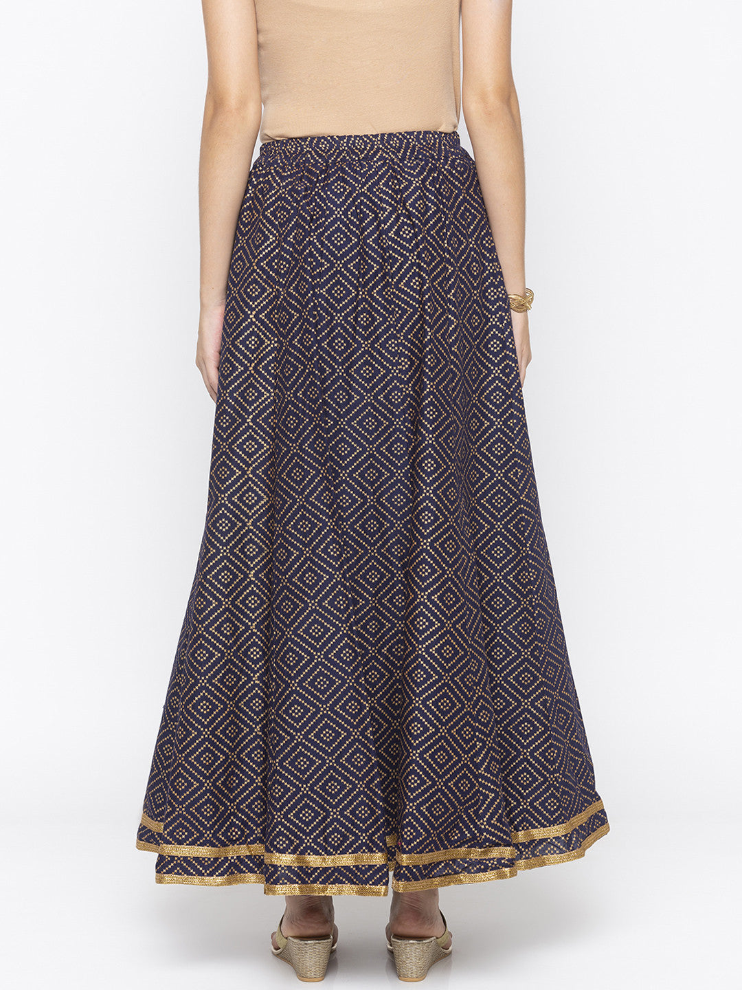 Navy Blue Printed Flared Maxi Skirts-3