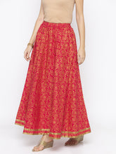 Load image into Gallery viewer, Pink Printed Flared Maxi Skirts-2