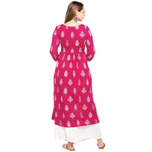 Load image into Gallery viewer, Women Pink & White Printed Empire Kurta-3