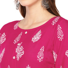 Load image into Gallery viewer, Women Pink & White Printed Empire Kurta-5