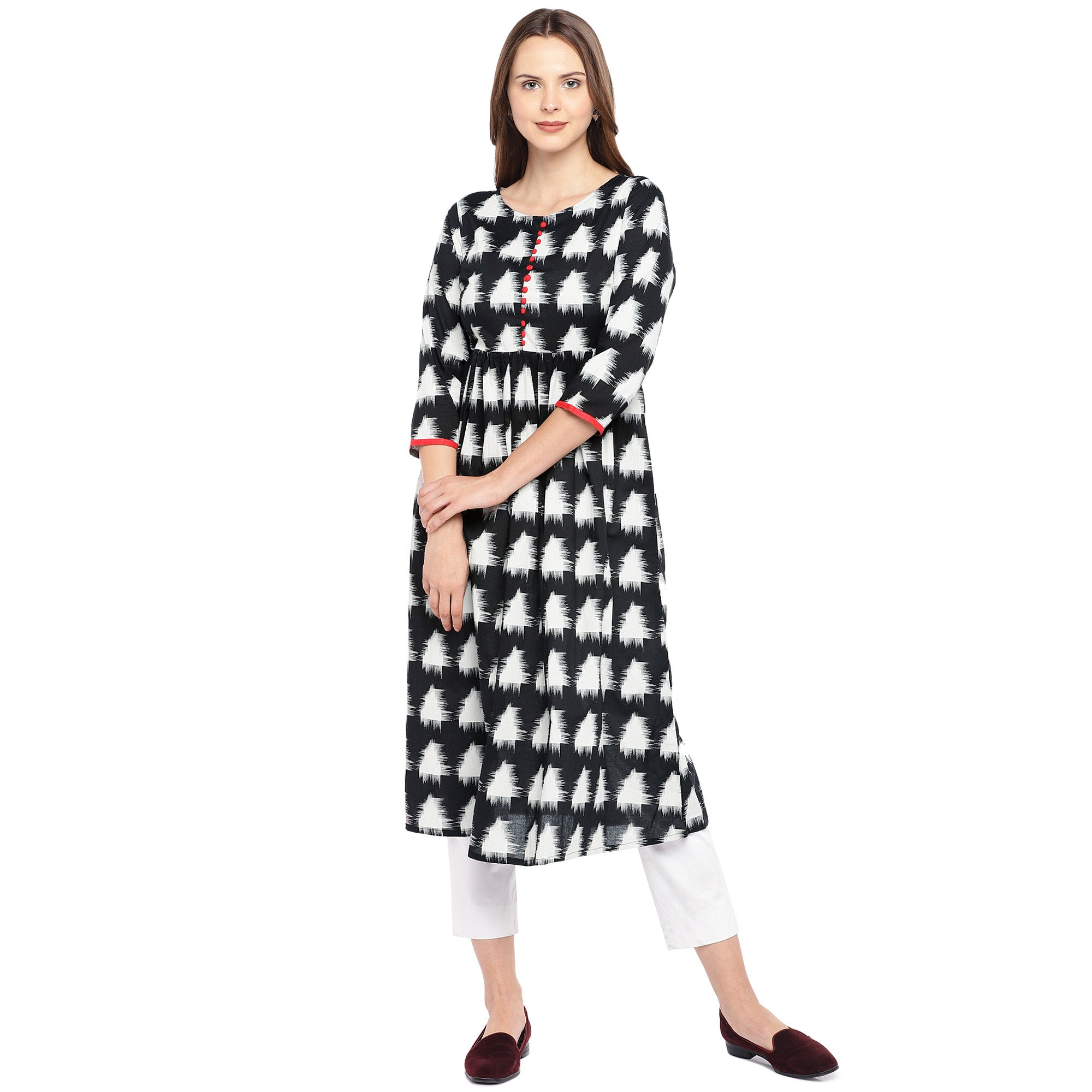 Women Black & White Printed Empire Kurta-1