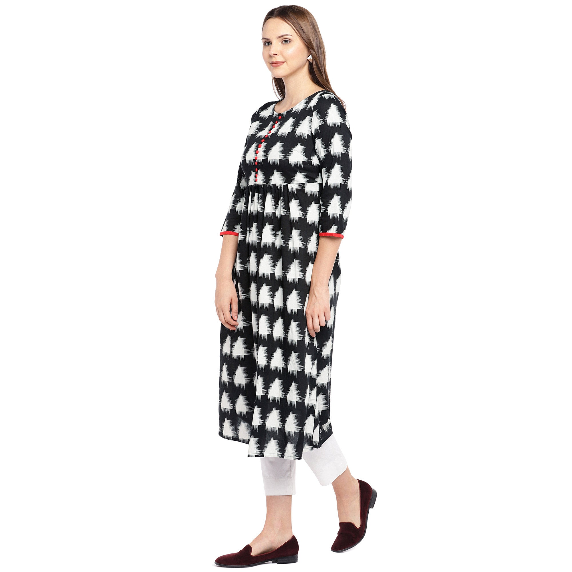 Women Black & White Printed Empire Kurta-2