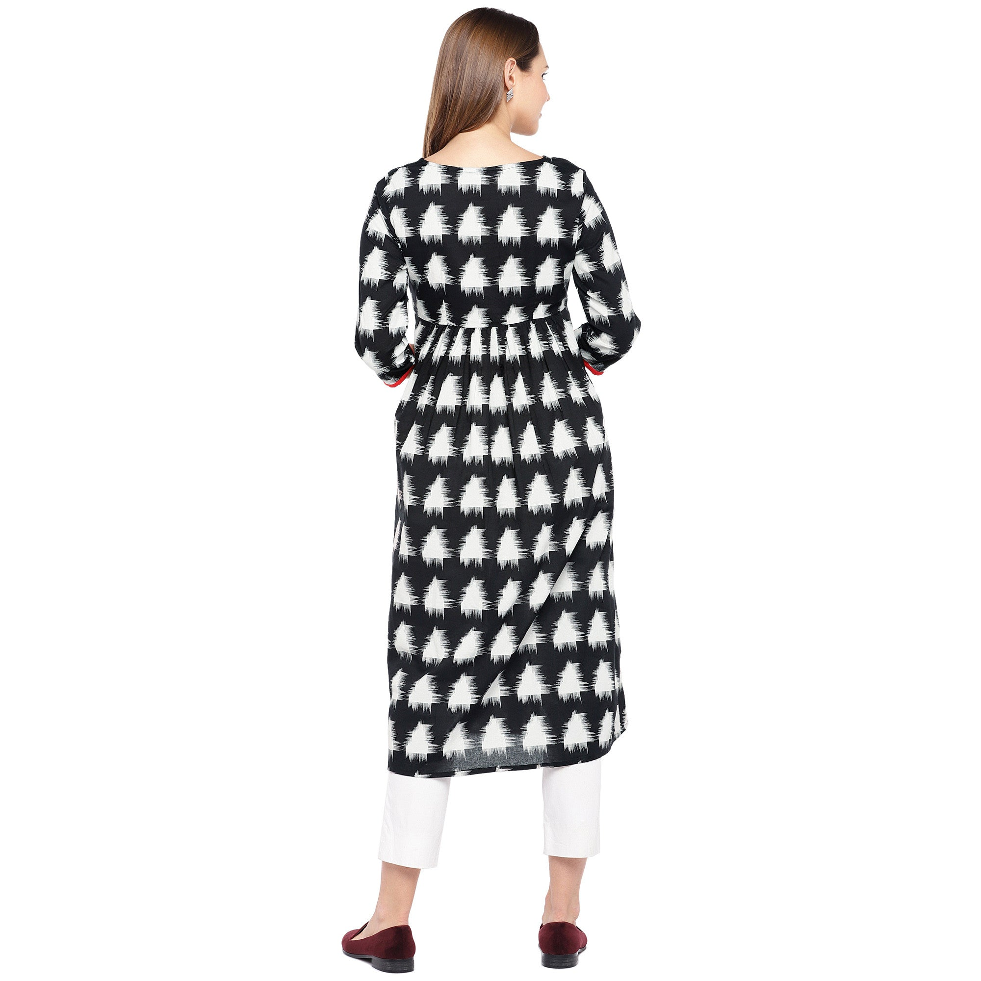 Women Black & White Printed Empire Kurta-3