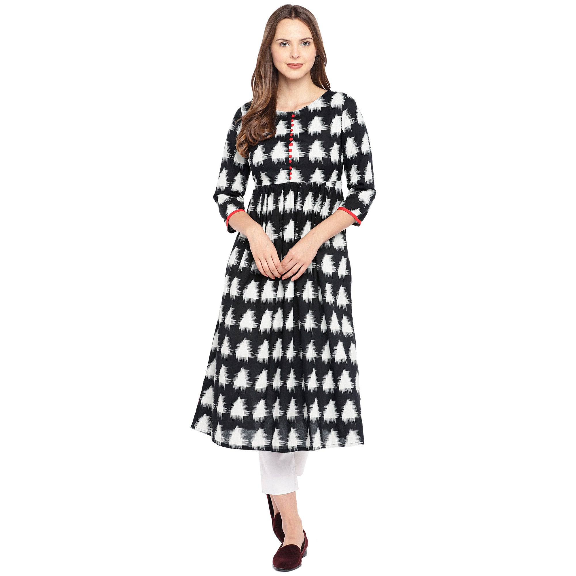 Women Black & White Printed Empire Kurta-4