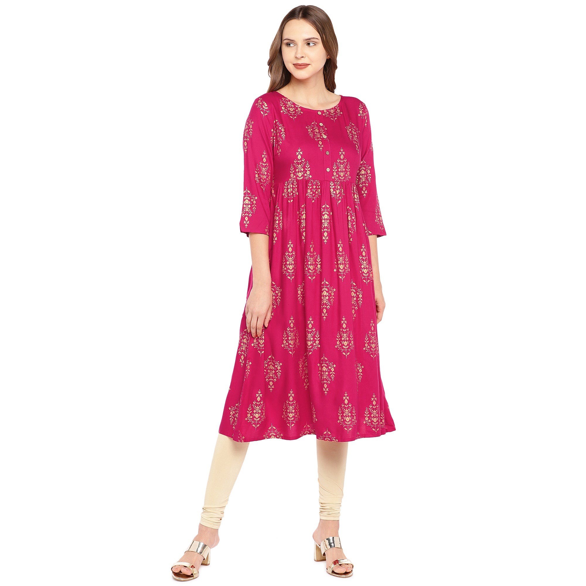 Women Pink Printed Empire Kurta-1