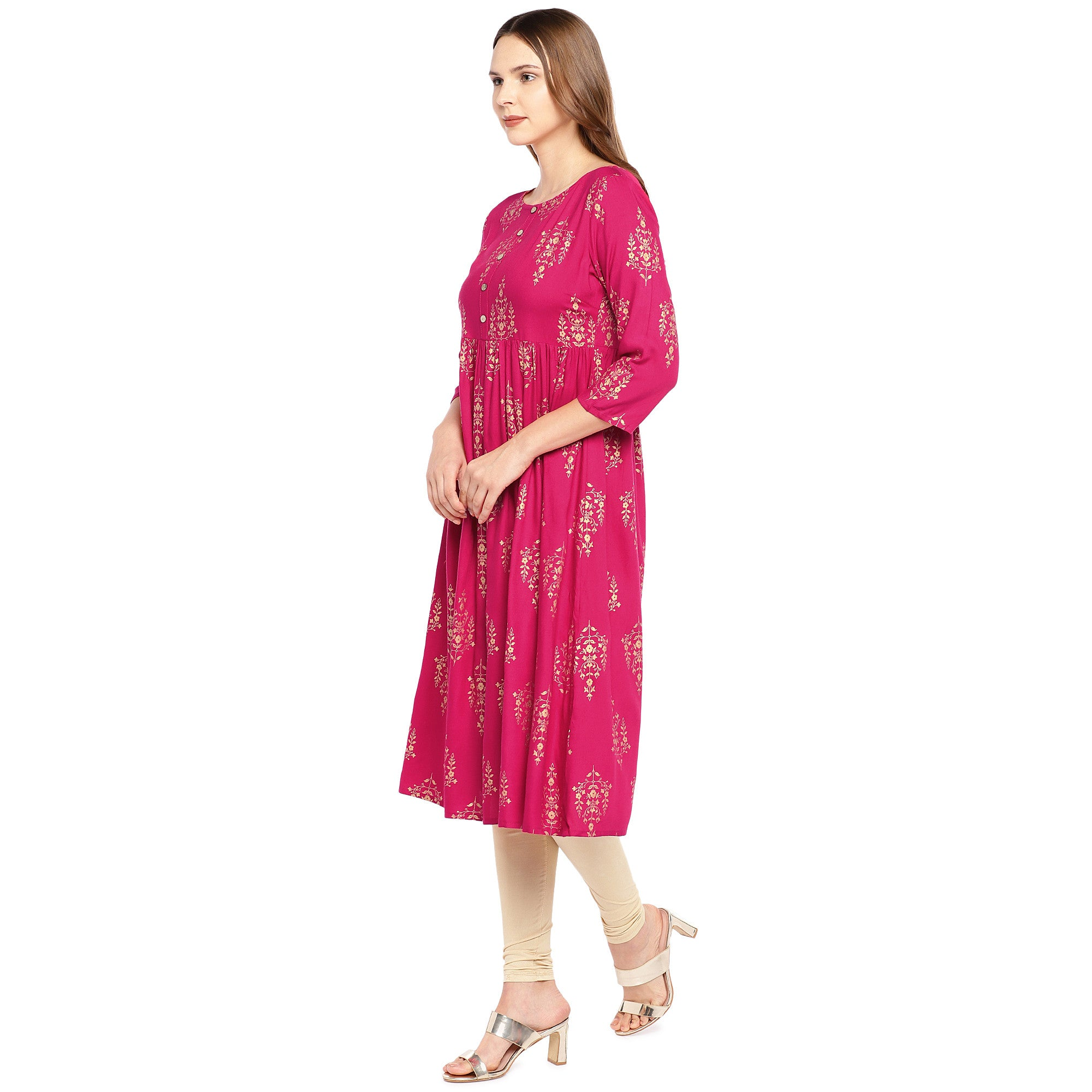 Women Pink Printed Empire Kurta-2
